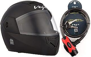 Vega Crux DX Flip-Up Helmet (Black, M) and Vega Safety Cable Lock Dull Black Red