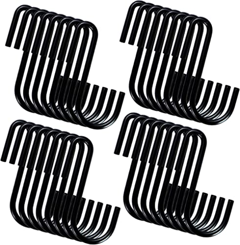 YourGift 28 Pack Heavy Duty S Hooks Black S Shaped Hooks Hanging Hangers Hooks for Kitchen, Bathroom, Bedroom and Off...