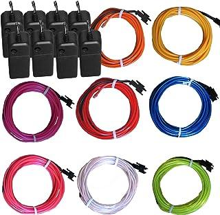8 عبوات من أسلاك كهرباء متوهجة متوهجة متوهجة من TDLTEK (أزرق، أخضر، أحمر، أبيض، وردي، أرجواني، برتقالي، أصفر) + 3 أوضاع تح...