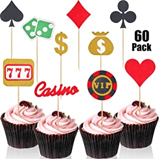 60 Pieces Poker Heart Las Vegas Cupcake Toppers Glitter Playing Cards Fruit Food Cake Picks for Birthday Party Decoration
