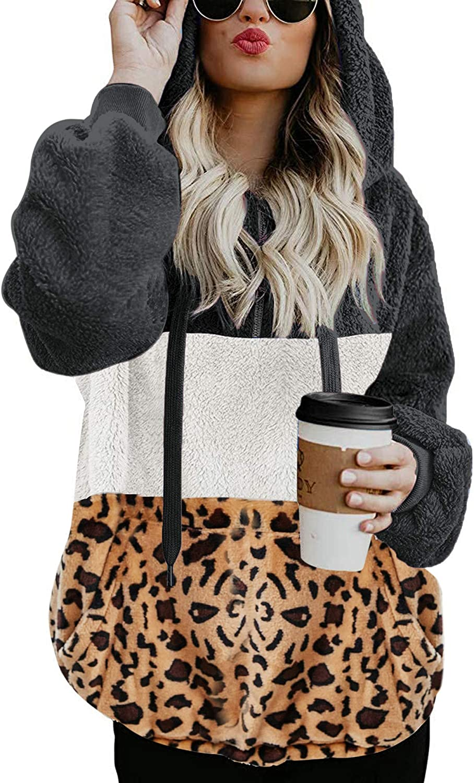 LOMON Women Sherpa Hoodies Fuzzy Fleece Sweatshirt Quarter Zip Pullover Long Sleeve Outwear Coat with Pockets