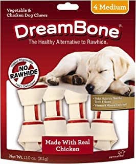 Dreambone Vegetable & Chicken Dog Chews, Rawhide Free, Medium, 4-Count
