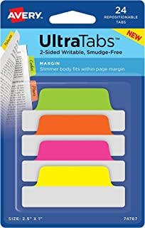 "Avery Ultra Tabs, 2.5"" x 1"", 2-Side Writable, Pink/Green/Orange, 24 Repositionable Margin Tabs (74767)"