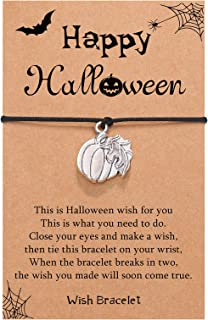 Sponsored Ad - UNGENT THEM Handmade Happy Halloween Pumpkin Ghost Charm Wish Bracelet for Halloween Party Favor Trick or T...