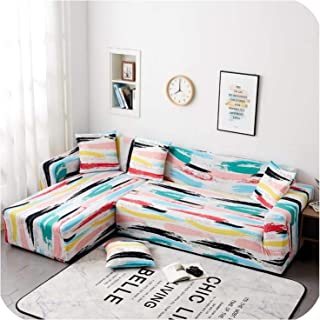 2Pcs All Inclusive Sofa Cover for Living Room Elastic Stretch Modern Geometric L Shaped Sectional Couch Cover Corner Slipcovers,A,145-185cm 145-185cm
