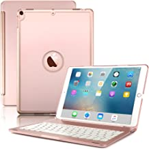 "New iPad Air 2019( 3rd Generation)10.5""/iPad Pro 10.5"" 2017 Keyboard Case,Boriyuan Protective Ultra Slim Hard Shell Folio Stand Smart Cover with 7 Colors Backlit Wireless Bluetooth Keyboard(Rose Gold)"