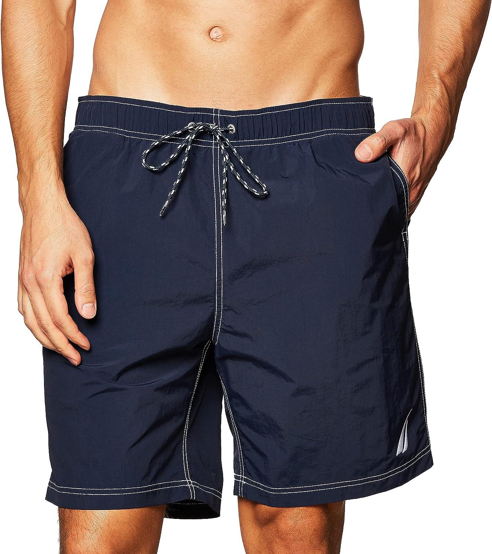 Nautica Men's Solid Quick Dry Classic Logo Swim-Trunk