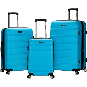 Rockland Melbourne Hardside Expandable Spinner Wheel Luggage, Turquoise, 3-Piece Set (20/24/28)