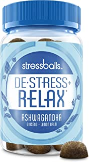 Stressballs Relax Stress Supplement to Help You De-Stress and Relax,* 46 Gummies with an Herbal Blend of Ashwagandha, Lemon Balm and Ginseng