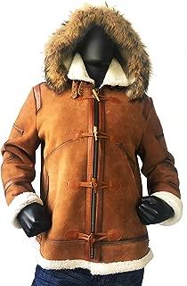 Mens Aviator Bomber B3 Shearling Sheepskin Leather Jacket Cognac Brown Fur Hood Toggles Regular and Big & Tall Sizes
