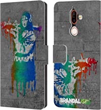 Official Brandalised Mona Launcher Banksy Art Coloured Drips Leather Book Wallet Case Cover Compatible for Nokia 7 Plus