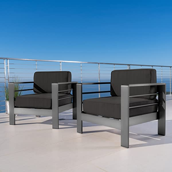 Christopher Knight Home Crested Bay Patio Furniture Outdoor Grey Aluminum Club Chairs With Dark Grey Water Resistant Cushions Set Of 2