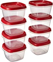 Rubbermaid 1777085 7J60 Easy Find Lid Square 2-Cup Food Storage (Pack of 8 Containers), 8, clear