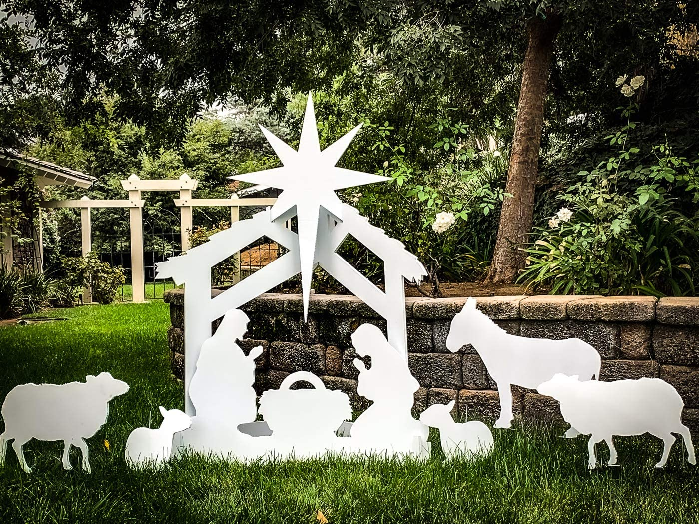 Max 79% OFF Note Card Cafe Large Outdoor Nativity Scene Display F Yard Set Department store