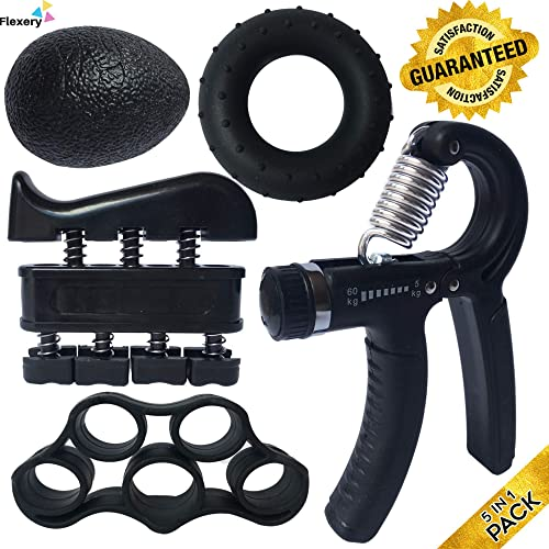 ProHand Premium Quality Hand Grip Strengthener Exercise Set (5-in-1 pack) - Adjustable Resistance Hand Gripper 5-60 K...