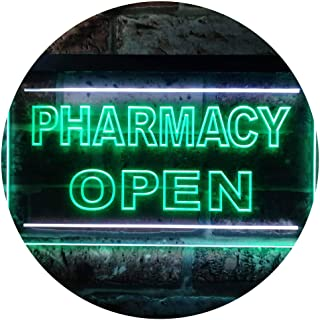 Pharmacy Open Shop Illuminated Dual Color LED Neon Sign White & Green 300 x 210mm st6s32-i0614-wg