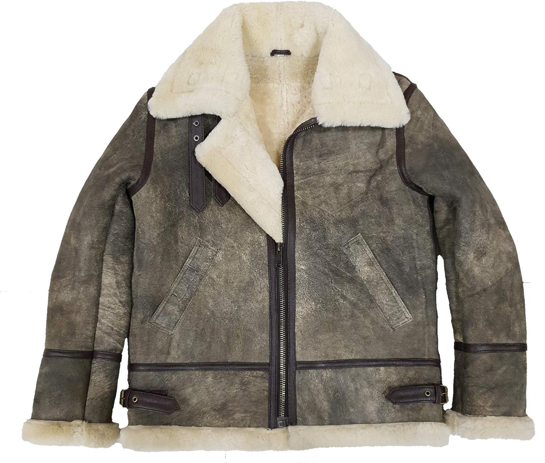 Cockpit USAF B-3 Bomber Sheepskin Shearling Removable Hood Leather Jacket