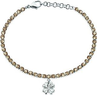 Sector No Limits Bracciale da donna, Collezione TENNIS, lunghezza 19 cm, in acciaio e cristalli - SANN08