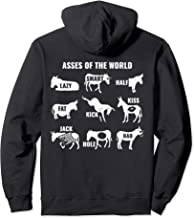 Asses the World Funny Lazy Smart Half Fat Kick Kiss Donkey Pullover Hoodie