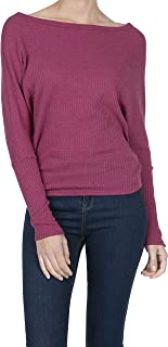 iliad USA Women's Boat Neck Batwing Sleeve Pullover Waffle Shirt Blouses Top