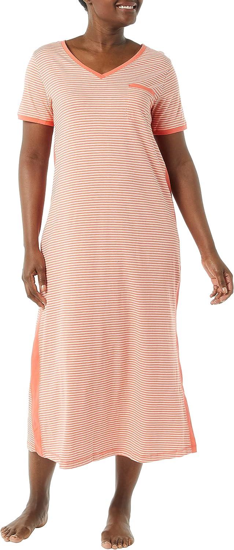 AmeriMark Womens Striped Knit Lounger V Neck Long T Shirt Nightgown Sleepwear
