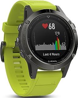 Garmin - Fenix 5- Reloj multideporte, con GPS y medidor de frecuencia cardiaca, lente de cristal y bisel de acero inoxidable, 47 mm, Yellow Band