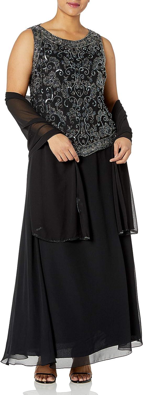 J Kara Women's Plus Size Beaded Gown with Scarf