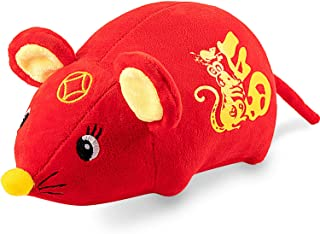 New Year Rat Ornament 2020 Chinese Festival Decorations Year of The Rat Festival Decoration Good Luck Plush Mouse Stuffed Animal Table Shelf Decor Home Figurines (18 cm/ 7.08 Inches)