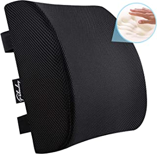 Premium Back Cushion for Office Chair, Car Seat - Memory Foam Lumbar Support Pillow with Breathable 3D Mesh Cover Adjustable Straps Black