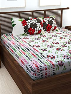 Story @ Home Forever Collection 240 TC 100% Cotton White 1 Double Bedsheet with 2 Pillow Cover