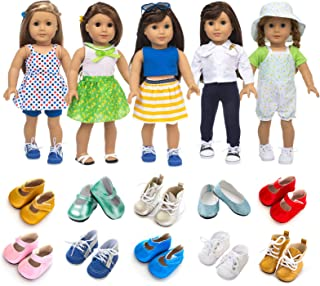 XFEYUE American 18 Inch Girl Doll Clothes and Accessories 5 Sets Doll Clothes Dress Outfits + 2 Random Style Shoes for 18 ...