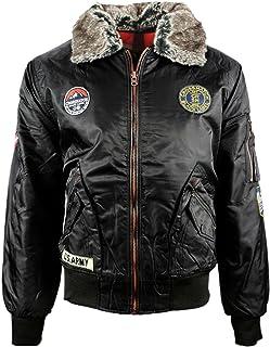 Mens Crosshatch Emmay Detachable Faux Fur Collar Bomber Jacket