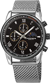 Akribos XXIV Men's Chronograph Watch - 3 Subdials with Moonphase AM/PM Indicator On Stainless Steel Mesh Bracelet - AK1112