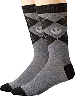 Star Wars Rebel Logo Argyle Top Half Men's Crew Socks Shoe Size 6-12