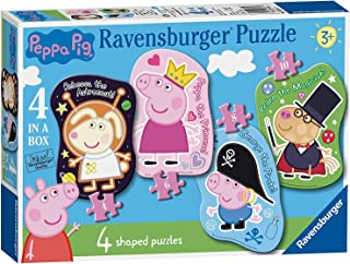 Peppa Pig Large Shaped 4 in a Box Puzzles Featuring Rebecca Pedro George Ages 3 and Up