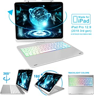 Keyboard Case for 2018 iPad Pro 12.9 Inch (3rd Generation), 7 Color Backlit Keyboard, 360° Rotatable, Wireless Bluetooth Connection, Auto Wake/Sleep, iPad Pro 12.9 Keyboard Case, Silver