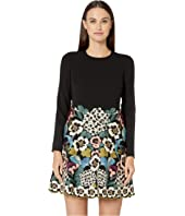 RED VALENTINO - Floral Vines Embroidery Crepe Sable Dress