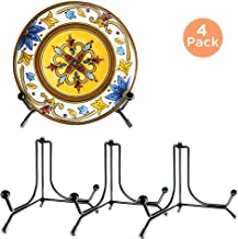 IPOW 4 Pack 4 Inch Upgraded Anti-Slip Iron Plate Display Stand, Black Easel Display Stand Photo Holder Stand, Displays Picture Frames, Decorative Plates, and Artworks