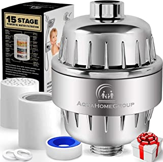 AquaHomeGroup 15 Stage Shower Filter with Vitamin C for Hard Water - High Output Shower Water Filter to Remove Chlorine an...