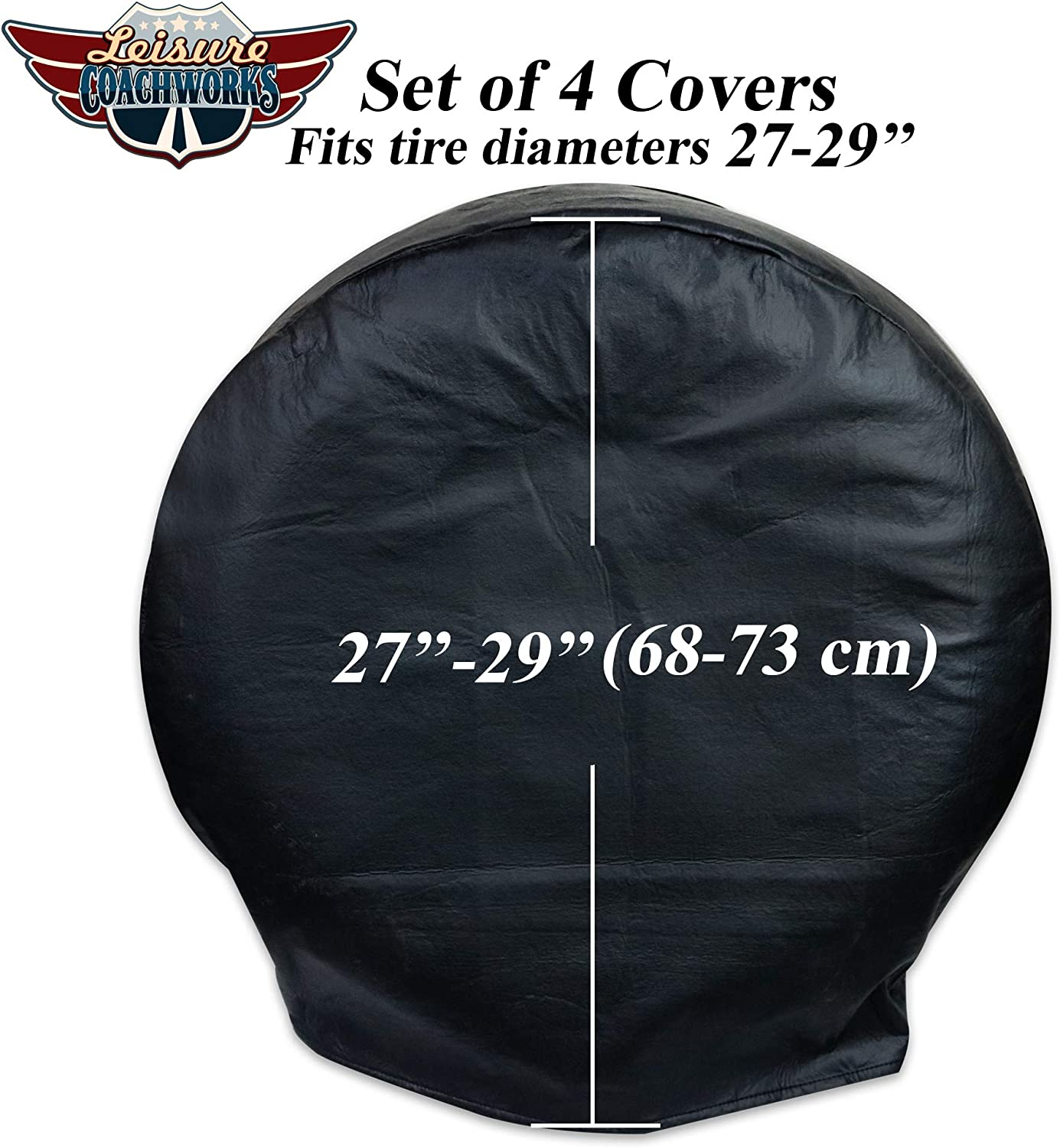 Leisure Coachworks Tire Covers for RV Wheel Set of 4 Motorhome Wheel Covers Waterproof Oxford Cotton Tire Protectors Tire Covers Fits 24 to 26 Tire Diameters