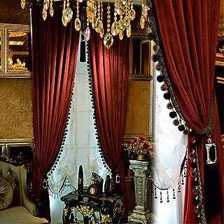 Luxury Curtain for Living Room Blackout Velvet 2 Panels Curtains Set Luxury Tassel Bedroom Curtains (Burgundy, (50W×96L)×2)