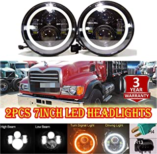 7 inch Round Headlight For Mack Granite Trucks V713 High Low Beam LED Headlights Kit Super Bright with DRL Halo Ring Angel Eyes H4 to H13 Plug and Play