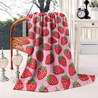 Unicorns Farting Seamless Strawberry Summer Thick Reversible Blanket Cozy Couch Warm Throw Blanket Flannel Fleece Blanket, 59 X 79 Inch