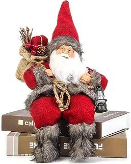 Costyleen Christmas Santa Claus Figurine Decoration Medium Size Ornament Enjoyable Gift Doll Toy Table Decor Festival Present - Sitting Posture 13'' Red Black