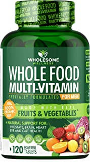Whole Food Multivitamin for Men - Natural Multi Vitamins, Minerals, Organic Extracts - Vegan Vegetarian - Best for Daily E...
