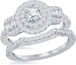 Silver Tone Double Halo Simulated Diamond Baguette CZ Engagement Ring