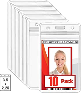 MIFFLIN Plastic Waterproof ID Badge Holders (Clear, 3.5x2.25 Inch, 10 Pack), Vertical Hanging Card Holder with Zipper, Resealable Bulk Nametag Holders