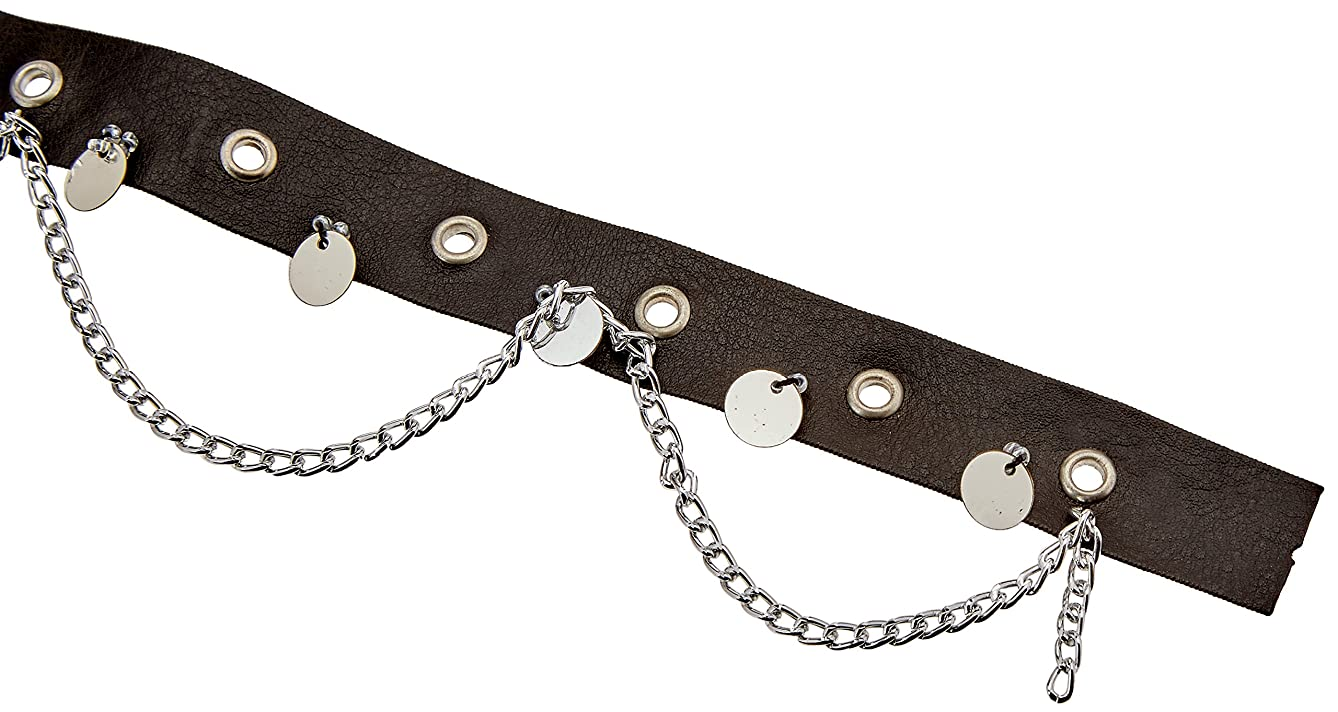 Expo International Faux Leather Chain Fringe Trim, 10 yd, Black/Silver