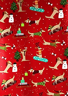 Festive Dachshund Wiener Dogs in Winter Attire Celebrating The Holiday Season Red Christmas Gift Wrapping Paper 2.5' x 12'