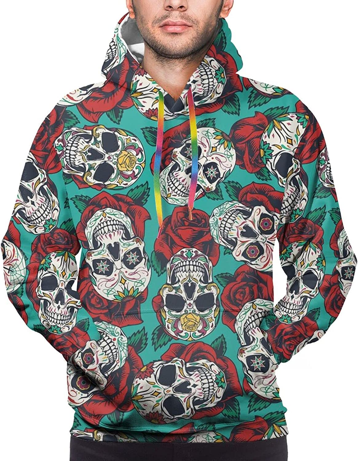 Hoodie For Mens Womens Teens Mexican Roses Skull Hoodies Outdoor Sports Sweater